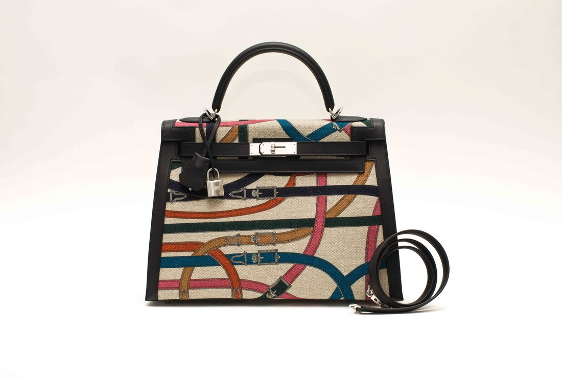 Hermes Kelly 32 cm Canvas/Swift Multicolor